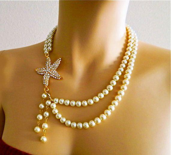 Starfish Bridal Necklace Rhinestone by PearlJewelryNecklace, $107.00