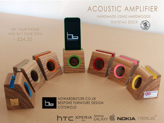 Acoustic speaker wooden phone dock stand Christmas by HBcotswold