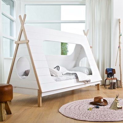 White Wooden Tent Bed In Indian Theme Added With Cowboy Toys On Purple Round Carpet On Wooden Floor As Well As Junior Beds For Boys  Also Kids Double Beds