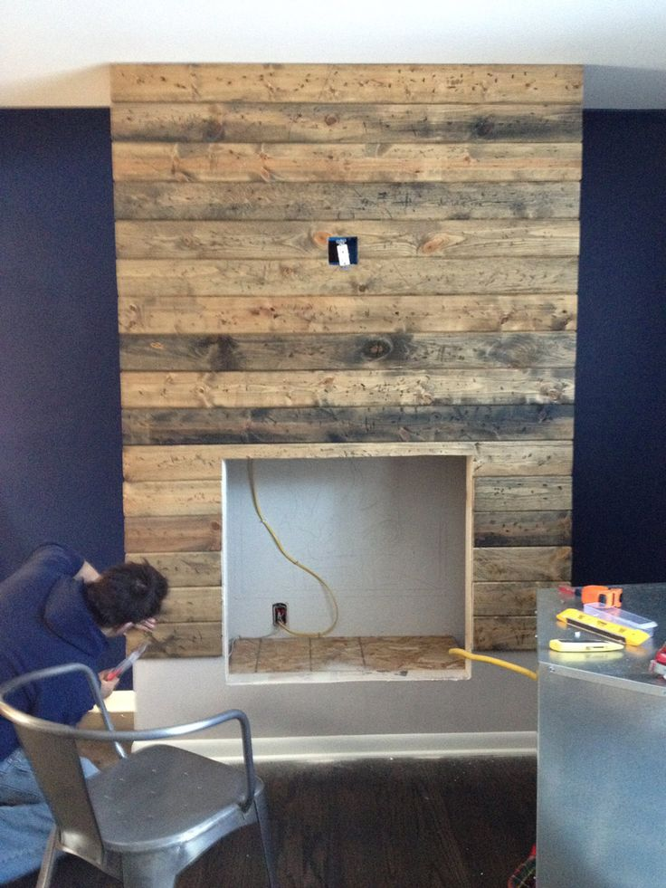 How to create a DIY reclaimed wood fireplace surround for less ...