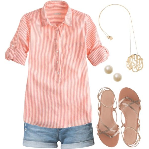 shorts, coral/white stripped button down, gold sandals, pearl studs, gold monogram necklace