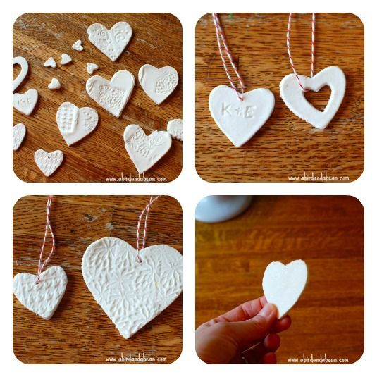 Cornstarch Clay Hearts. Make this very easy, very smooth dough with your kids using things you have around the house.