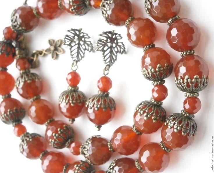 """Купить """"Повод для радости"""" - комплект украшений из сердолика. - рыжий, красный агат, агатовые бусы"""