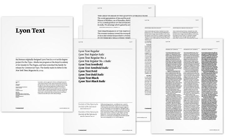 Commercial Type specimens - Working Format