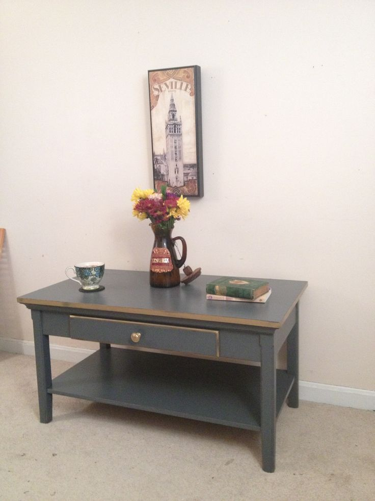 Charcoal and gold painted coffee table by furniture for Charcoal coffee table