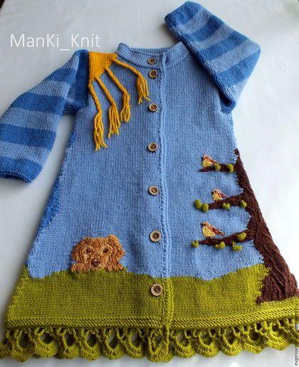 Knitted coat for girl / Одежда для девочек, ручной работы. вязаное пальто для девочки День и ночь. Евгения  Черевкова (EvgeniaManKi). Ярмарка Мастеров. Пальто на заказ