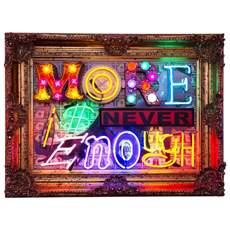 Marcus Bracey Original Neon Artwork, More Is Never Enough | From a unique collection of antique and modern contemporary art at https://www.1stdibs.com/furniture/wall-decorations/contemporary-art/