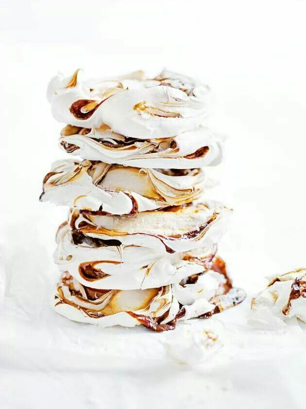 Swirled with caramel and sprinkled with sea salt these dreamy meringues by Donna Hay