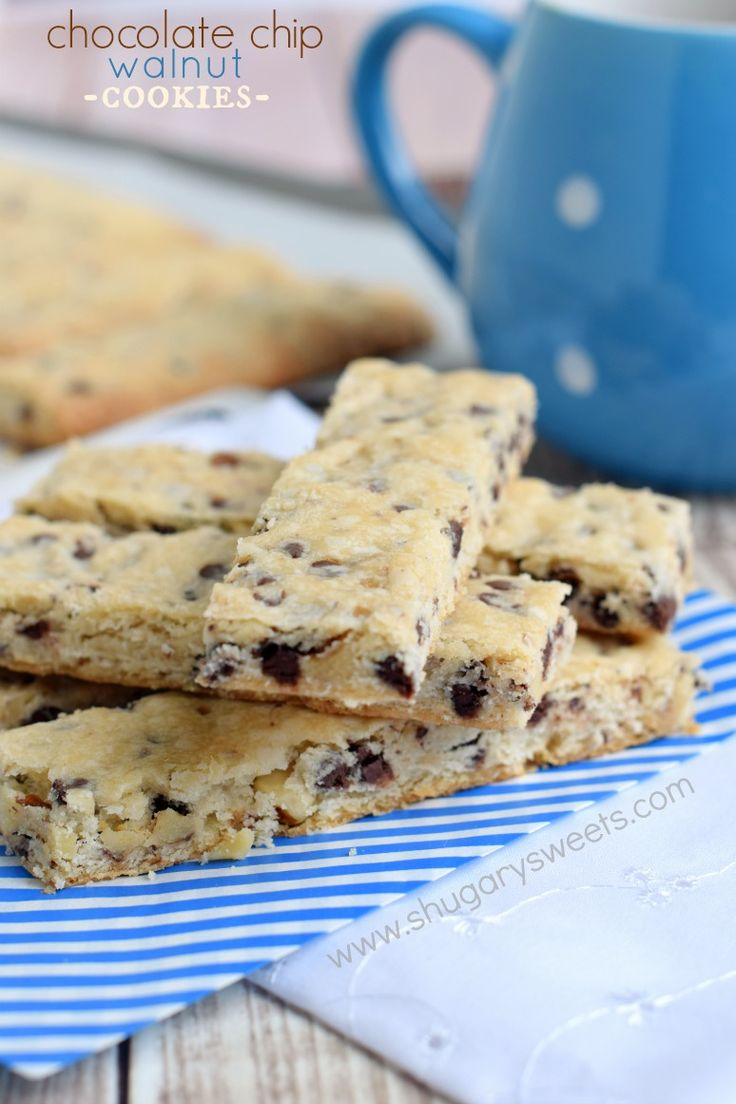 Chocolate Chip Walnut Cookie Bars: delicious shortbread cookie sticks ...