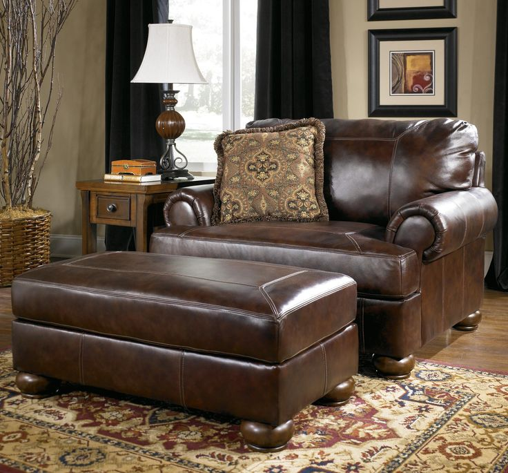 turquoise leather chair and ottoman 2