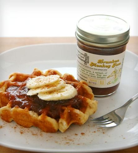 This jam tastes just like it sounds, like a monkey drunk on rum. The flavor is concocted with sweet sugar-coated bananas, a splash of rum and a dash of lime, for a slightly tropical flavor. It would be pretty tasty spread on toast or on top of pancakes, or saucy in a dish of ice cream or as a third layer to your PB&J.