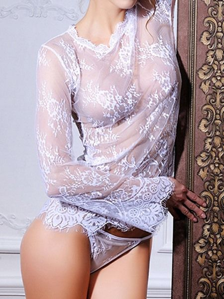 Long Sleeve See-Through Sexy Lace Chemise..  #StyleChicSassy
