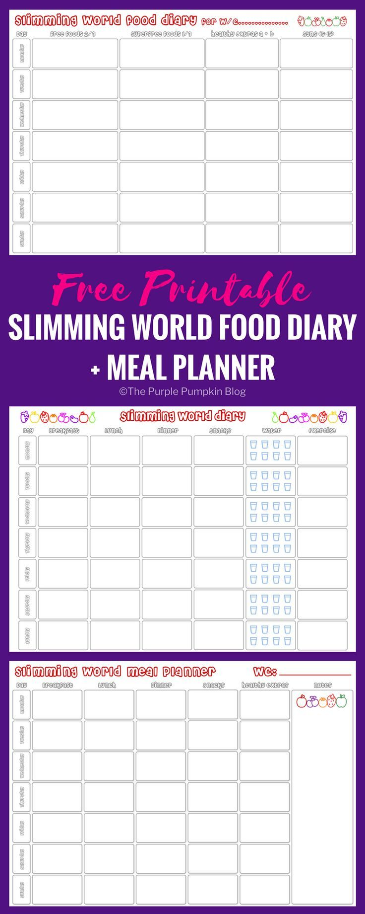 Slimming World Food Diary Printable + bonus Meal Planner! If you follow the Slimming World diet, then you need to download this FREE printable to help you keep track of your Free Foods, Healthy Extras, and Syns. The meal planner can help you plan your breakfast, lunch, and dinner in advance so that you can stay the course.