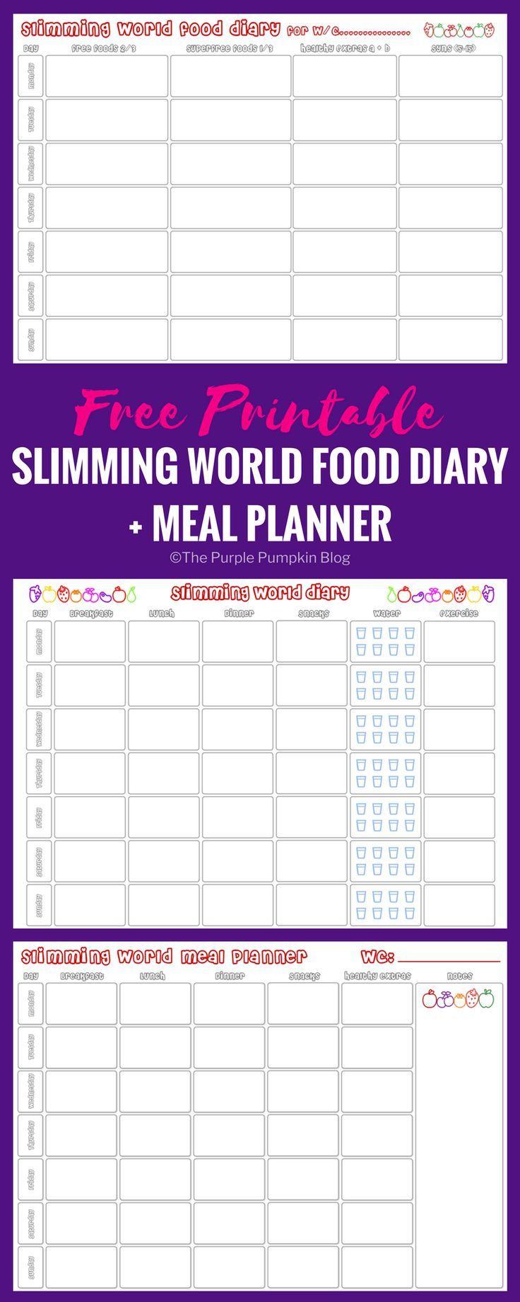 Slimming World Food Diary Printable