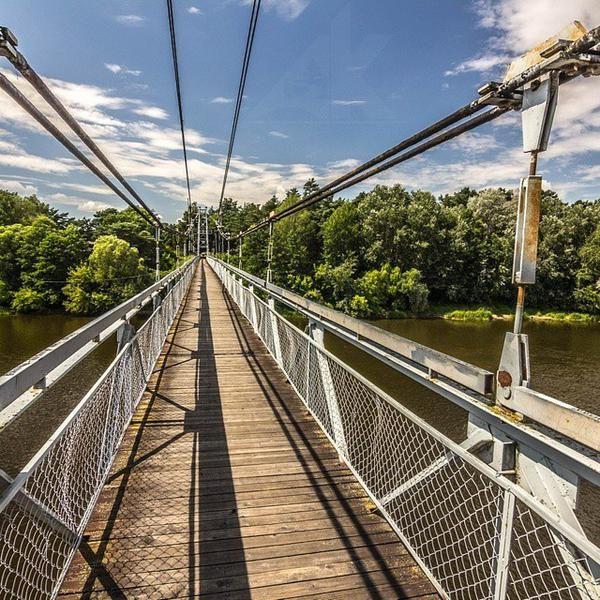 Подвесной мост через реку Нёман в городе Мосты, Гродненская область #новости #беларусь #twiby