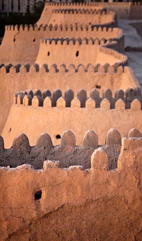 Khiva's Wall, the former capital of Khwarezmia and the Khanate of Khiva. Itchan Kala in Khiva was the first site in Uzbekistan to be inscribed in the World Heritage List (1991).