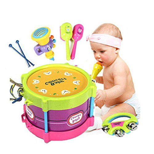5PCS Baby Boy Girl Drum Set Musical Instruments Kids Drum Set Children Toy Gift ** Be sure to check out this awesome product.