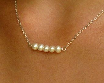 Freshwater pearl bar necklace/ 14k gold pearl bar necklace /