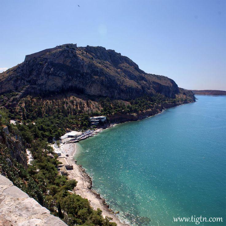 #Arvanitia beach at the foot of #Palamidi hill in #Nafplio, #Argolida - #Greece