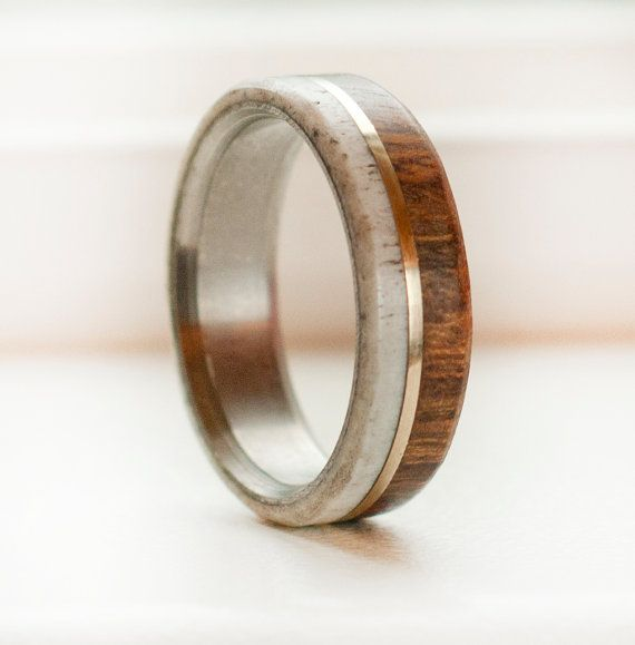 Custom Made - Made to order Mens wedding band with wood and ironwood and 10k gold inlay. Can be done in rose gold if selected in drop down