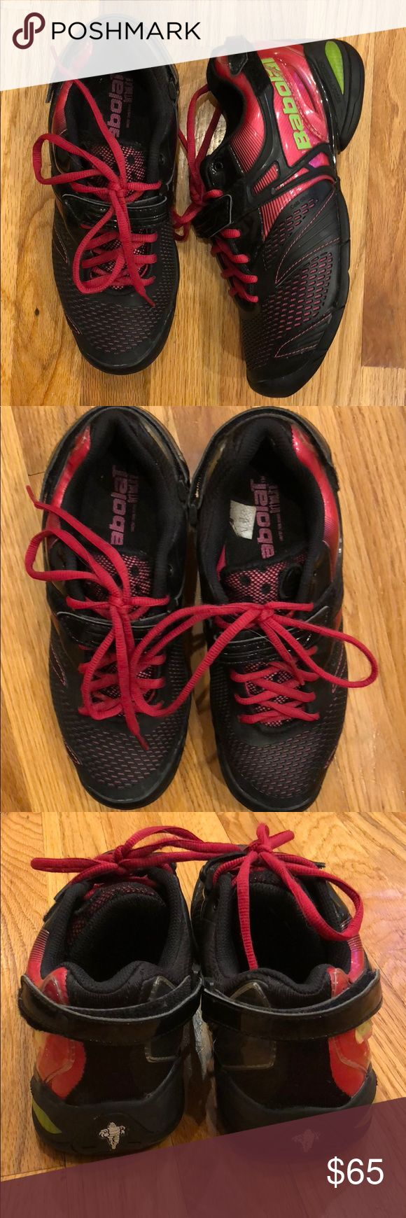Babolat Women's tennis sneakers Babolat women's all court tennis shoes. Size 8. Black with hot pink trim. Tie and Velcro closure. Gently used. Great condition. Babolat Shoes Sneakers