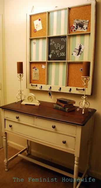 window pane memo board - love the furniture piece