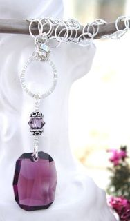 Amethyst Swarovski  Graphic Necklace with Violet Satin Crystals and sterling silver accents and chain.