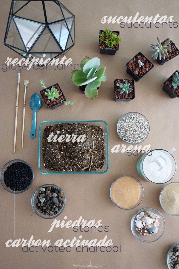 DIY terrarium: Cómo hacer un terrario con suculentas – Casa Haus How to make a succulent terrari Cactus Terrarium, Garden Terrarium, Glass Terrarium, Planting Succulents, Cactus Plants, Planting Flowers, Hanging Terrarium, Suculentas Diy, Cactus Y Suculentas