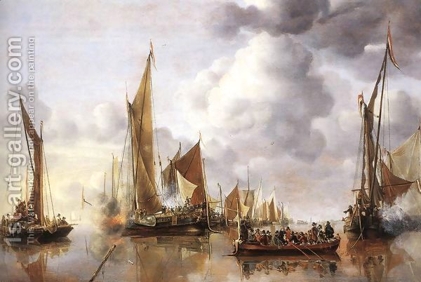 The State Barge Saluted by the Home Fleet 1650 by Jan Van De Capelle