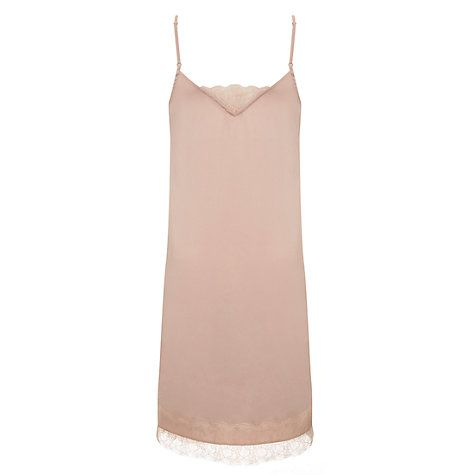 Buy Mint Velvet Lace Trim Satin Nightie, Light Pink Online at johnlewis.com