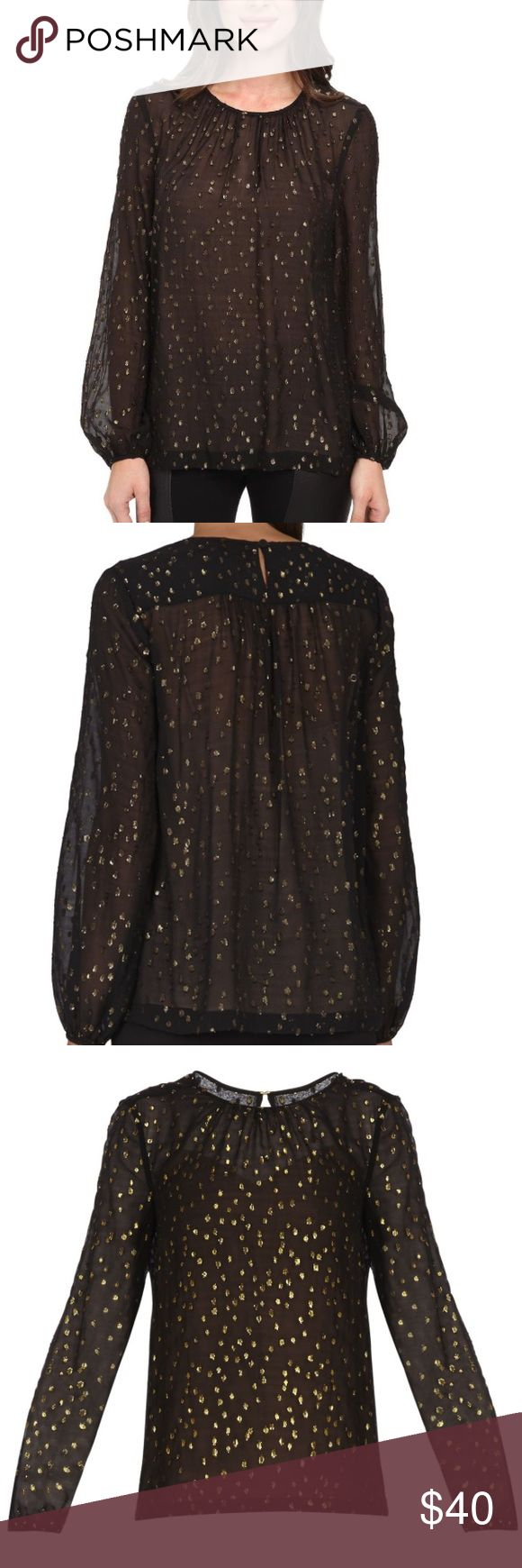 BCBG Martina Blouse sz M Black sheer top with gold flecks. Comes with nude cami to wear underneath. Worn only once and in like new condition. BCBGMaxAzria Tops Blouses