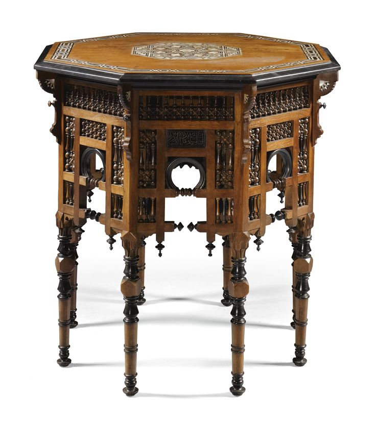 An Ottoman tortoiseshell and mother-of-pearl inlaid table, Turkey, 19th Century