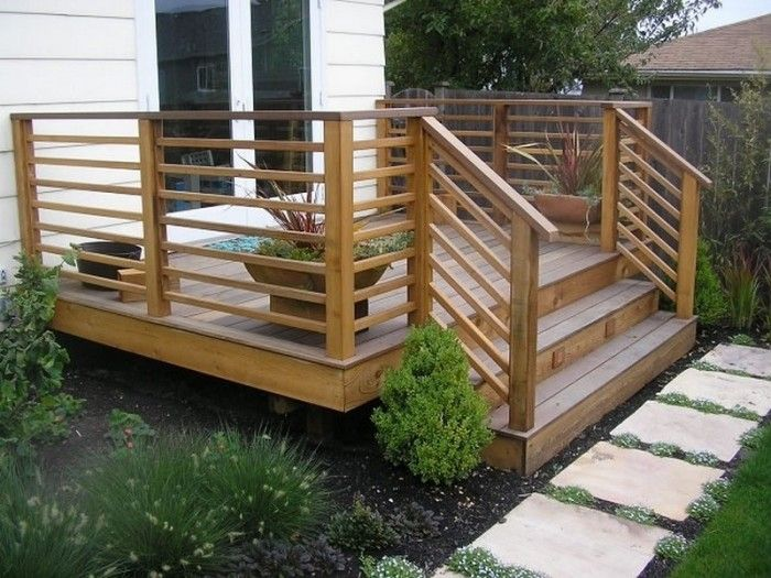 garden patio simple wood horizontal deck railings with stairs horizontal deck railing - Outdoor Deck Design Ideas