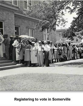 A photograph of African Americans lined up in the sun to register to vote in Somerville in 1960.  The Fayette County registrar's office was open one day a week with only one person working. Blacks would stand in line for hours in the hot summer sun. A court settlement in 1962 kept anyone from interfering with blacks registering to vote.  Memphis Commercial Appeal, Special Collections, University of Memphis, Courtesy of the Tennessee Historical Society