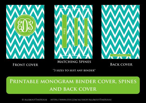 Printable Binder Covers Monogram Binder Cover & Spine Chevron Personalised Monogram Stationery Preppy Notebook Pink Green Navy Purple Blue Purchase here: https://www.etsy.com/au/listing/179932703/printable-binder-covers-monogram-binder?ref=shop_home_active_1