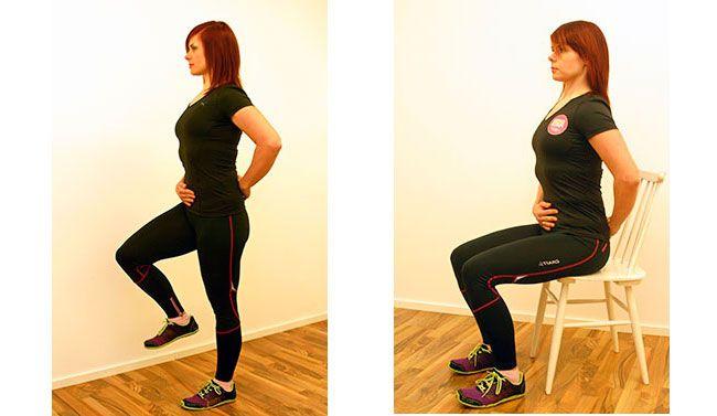 Balansér på ett bein: Stram magemusklene og trekk navlen innover. Pass på holdningen. Løft det ene beinet og hold balansen i fire til seks sekunder. Bytt bein. Jobb sakte og kontrollert.   Sittende aktivering: Stram magemusklene i to til tre sekunder mens du trekker navlen innover og er rett i ryggen. Slapp av i to sekunder, og gjenta.