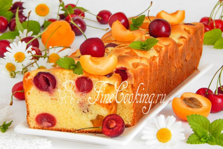 Манник творожный с черешней и абрикосами - рецепт с фото