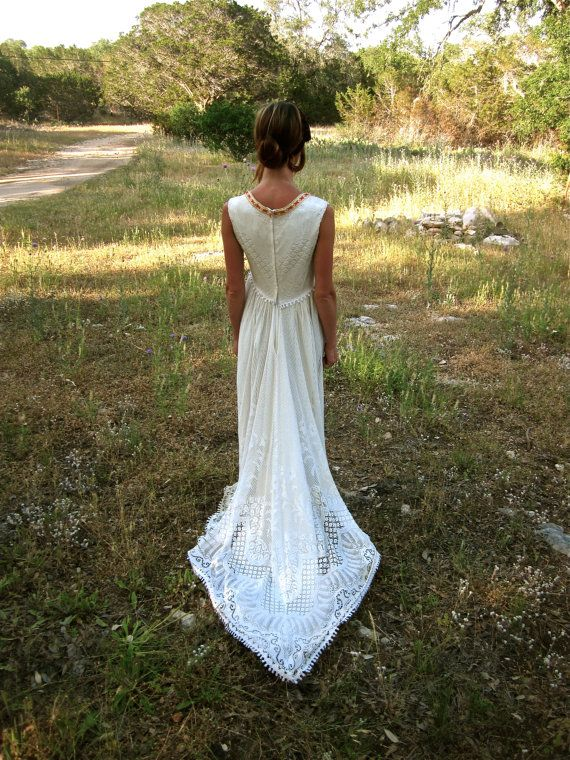 70's Bohemian Wedding Dress  Crocheted Handmade by StrayCatBooth, $200.00