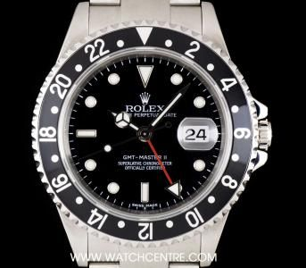 Rolex Stainless Steel Black Stick Dial GMT-Master II Gents B&P 16710