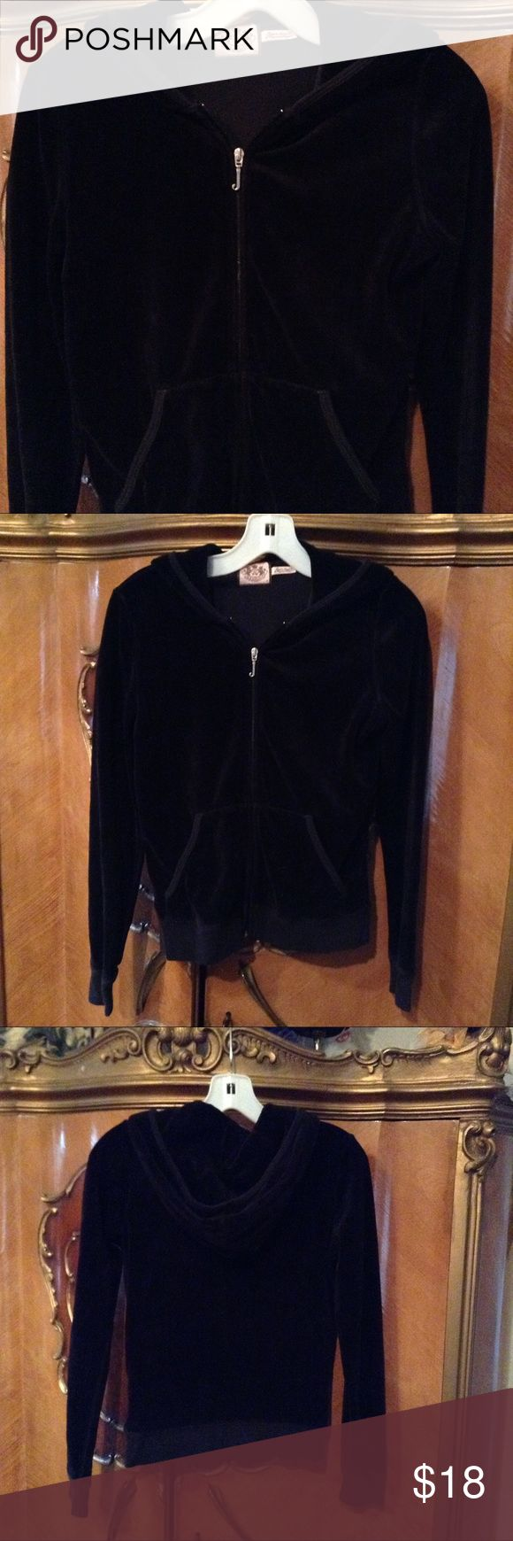 """Juicy Couture Black Velour Jacket Very nice black velour jacket, zip front with silver """"J"""", front pockets, long sleeves, hooded, excellent condition. Juicy Couture Jackets & Coats"""