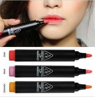 New MAKEUP Lip gloss Pen Beatiful Color Pigment Lip maker Lip Stick Red/Purple/Orange  High Quality Makeup Lip Free shipping $5.36
