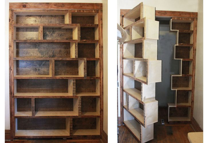 Stunning Combination of Hidden Door Bookcase: Unique Hidden Door Bookcase With The Unsymetris Design