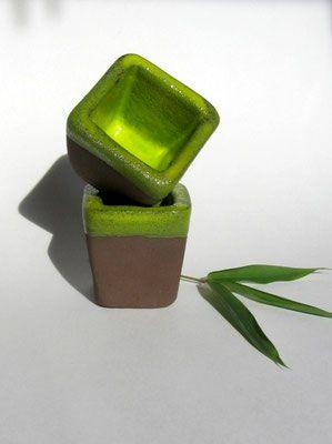 "Planters. ""Bamboo"" series (brown clay, yellow green glaze). Hand built earthenware ceramics by Pottery Studio Saskia Lauth / France. www.saskia-lauth.com"