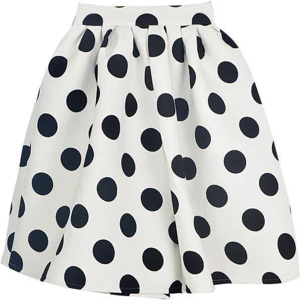Choies White Polka Dot Skater Skirt (220 ARS) ❤ liked on Polyvore featuring skirts, bottoms, flared skirt, skater skirt, circle skirt, white skater skirt and white knee length skirt