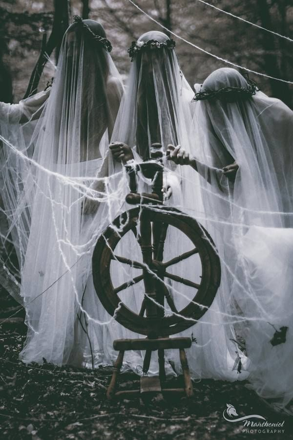 the Moirai—often known in English as the Fates—were the white-robed incarnations of destiny. Their number became fixed at three: Clotho (spinner), Lachesis (allotter) and Atropos (unturnable). They controlled the metaphorical thread of life of every mortal from birth to death.