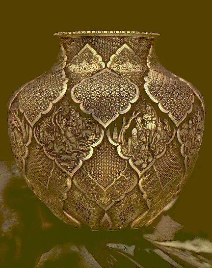 Fine Persian handmade engraved vase