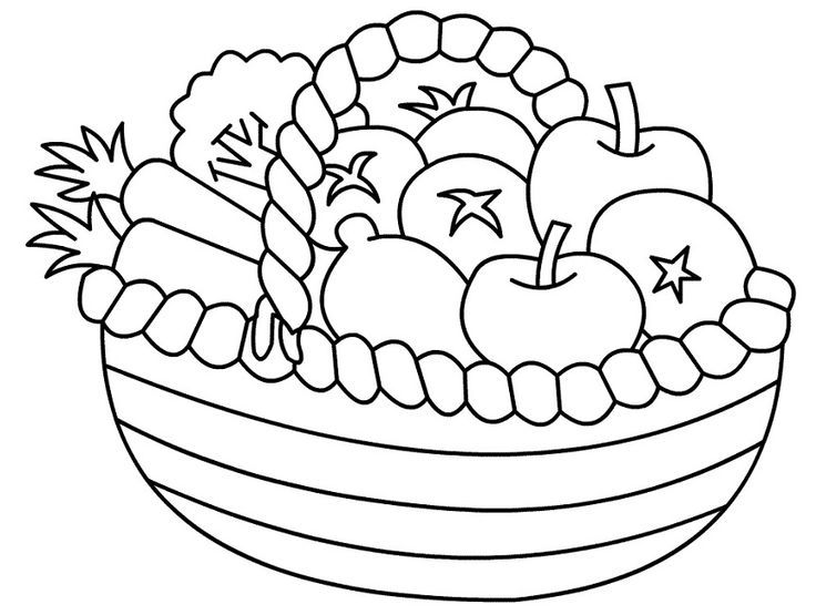 Basket Of Fruits And Vegetables Coloring Pages Coloring And Drawing