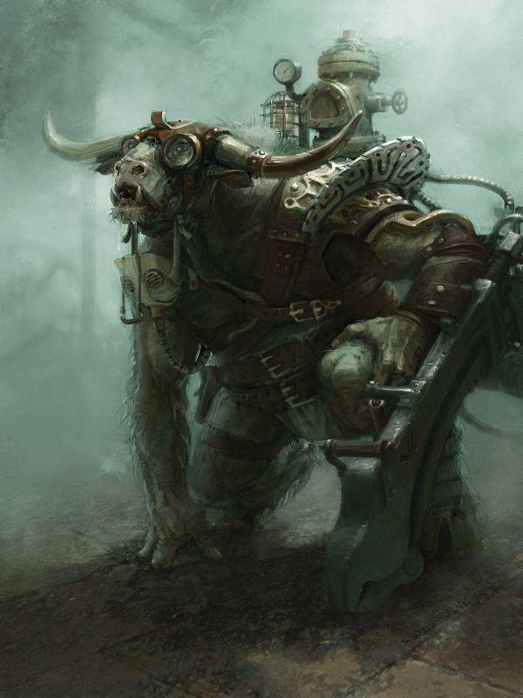 Steampunk Minotaur, Stefan Kopinski on ArtStation at https://www.artstation.com/artwork/LkN1k