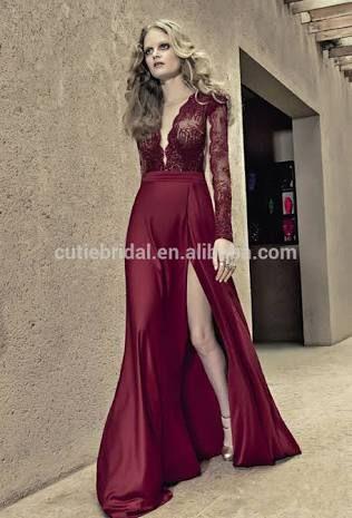 Resultado de imagen para vestido largo de manga larga color vino
