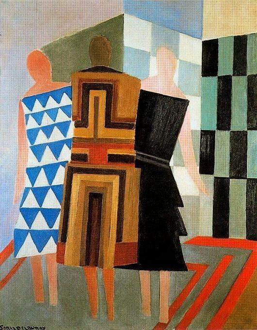 """Sonia Delaunay: """"Vestidos simultáneos"""" Las tres mujeres (Simultaneous Dresses. The Three Women) 1.925"""